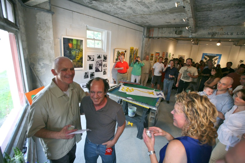 Librado Romero/The New York Times - REG - 14ARTSWE - 30080551A - 06/01/09 - Croton Falls, N.Y. - Opening day at the new gallery/studio space, LIFT TRUCKS PROJECT, on Rt. 22 in Croton Falls, N.Y. THIS PIC: left to right: Tom Christopher, artist/owner and Gary Lichtenstein and master printer and curator for this show.